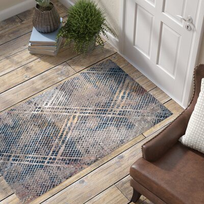 Foresta Abstract Blue/Beige Area Rug Rug Size: Round 7