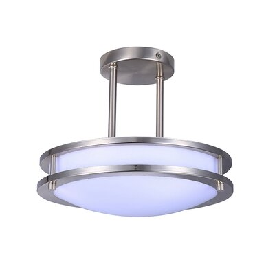 Toupin 1-Light LED Semi Flush Mount Size: 17 H x 17 W x 5.5 D, Color Temperature: 3000K