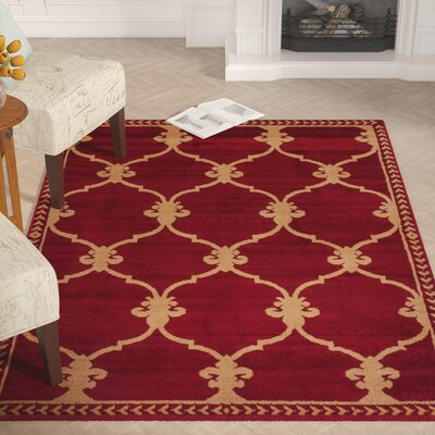 Coggrey Fleur De Lis Red Area Rug Rug Size: Rectangle 53 x 73