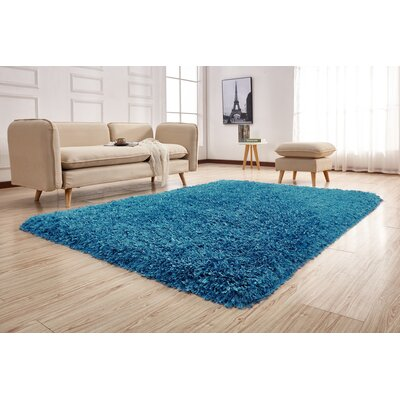 Pawlak Hand-Tufted Blue Area Rug Rug Size: Rectangle 76 x 103
