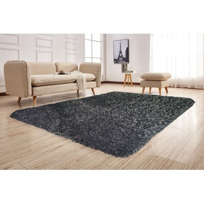 Pawlak Hand-Tufted Black Ash Area Rug Rug Size: Rectangle 76 x 103
