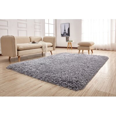 Pawlak Hand-Tufted Silver Area Rug Rug Size: Rectangle 76 x 103