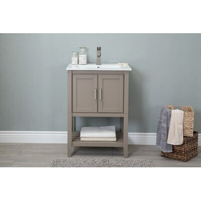 Petersburgh 24 Single Bathroom Vanity Base Finish: Gold Gray