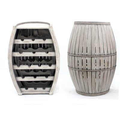 Donan Cool Half-barrel Shaped Wooden 16 Bottle Floor Wine Rack