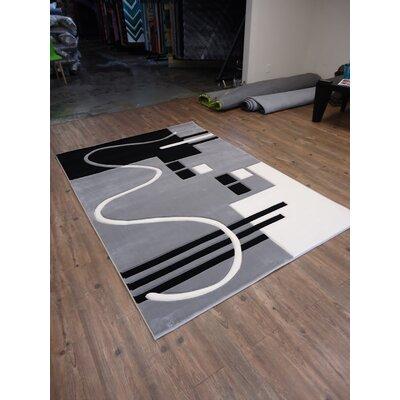 Croom Hand-Woven Gray/Black Area Rug