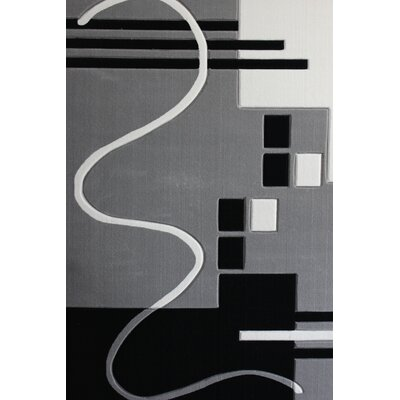 Vandalia Machine woven Polypropylene Gray/Black Area Rug