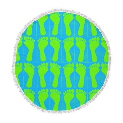 Sreetama Ray Footprints Round Beach Towel Color: Green/Blue Aqua ETHF1393 44511904