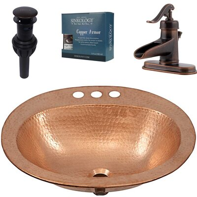Kelvin and Ashfield All-in-One Drop-In Metal Oval Drop-In Bathroom Sink with Faucet