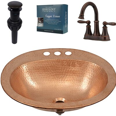 Kelvin and Courant All-in-One Drop-In Metal Oval Drop-In Bathroom Sink with Faucet