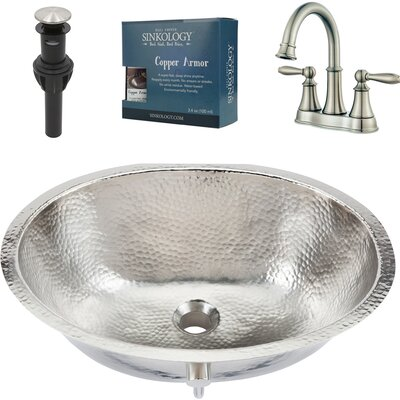 Pavlov All-in-One Metal Oval Undermount Bathroom Sink with Faucet