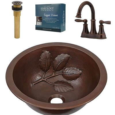 Newton All-In-One Metal Circular Drop-In Bathroom Sink with Faucet and Overflow