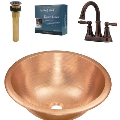 Born and Courant All-in-One Metal Circular Undermount Bathroom Sink with Faucet