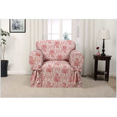 Box Cushion Armchair Slipcover Upholstery: Red