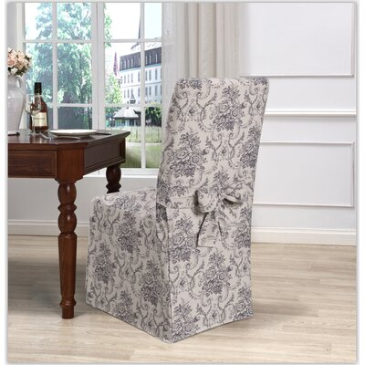 Box Cushion Dining Chair Slipcover Upholstery: Navy
