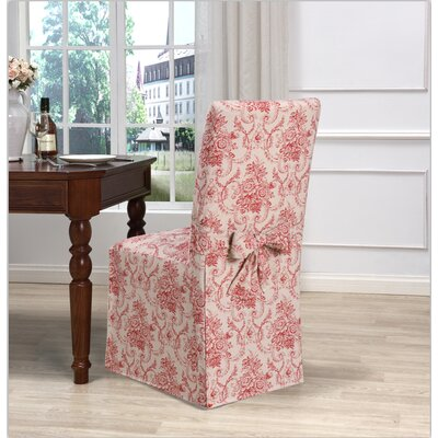 Box Cushion Dining Chair Slipcover Upholstery: Red