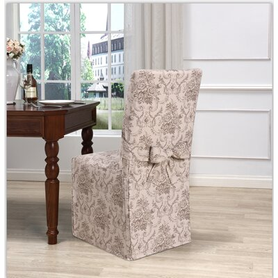 Box Cushion Dining Chair Slipcover Upholstery: Taupe