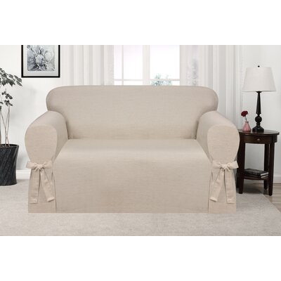 Box Cushion Loveseat Slipcover Upholstery: Natural
