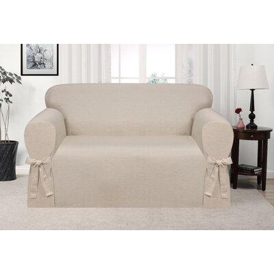 Box Cushion Loveseat Slipcover Upholstery: Natural