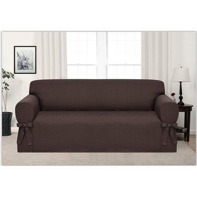 Box Cushion Sofa Slipcover Upholstery: Brown