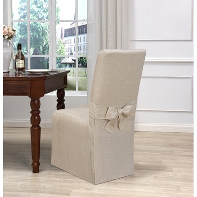 Box Cushion Dining Chair Slipcover Upholstery: Natural