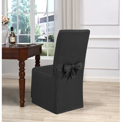 Box Cushion Dining Chair Slipcover Upholstery: Charcoal