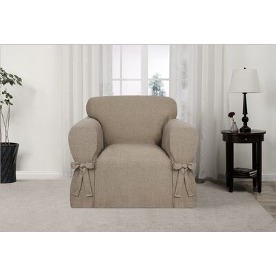 Box Cushion Armchair Slipcover Upholstery: Fawn