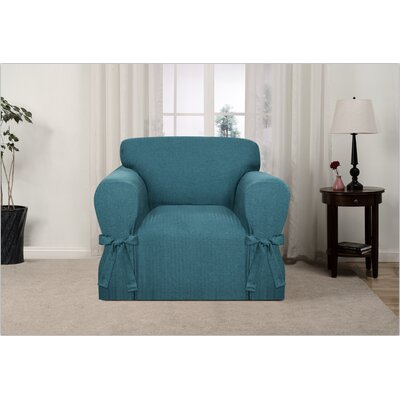 Box Cushion Armchair Slipcover Upholstery: Teal