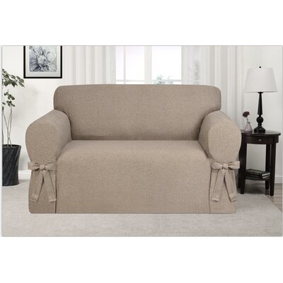 Box Cushion Loveseat Slipcover Upholstery: Fawn