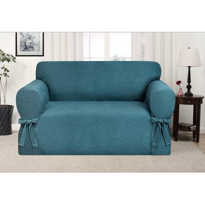 Box Cushion Loveseat Slipcover Upholstery: Teal