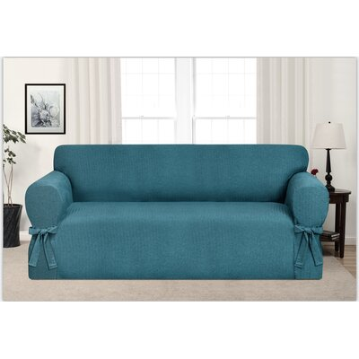 Box Cushion Sofa Slipcover Upholstery: Teal
