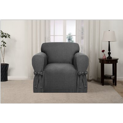 Box Cushion Armchair Slipcover Upholstery: Charcoal