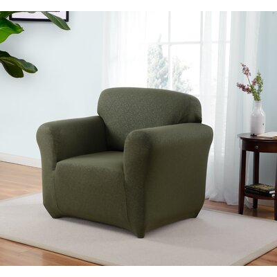 Box Cushion Armchair Slipcover Upholstery: Forest