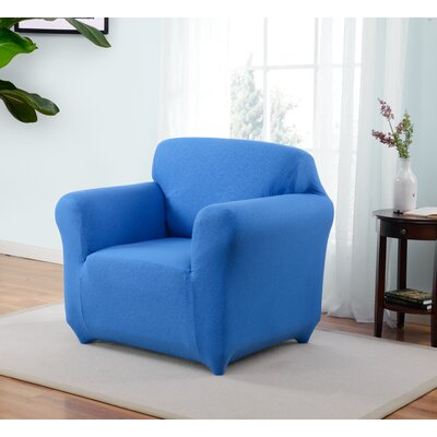 Box Cushion Armchair Slipcover Upholstery: Cobalt