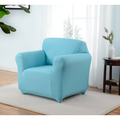 Box Cushion Armchair Slipcover Upholstery: Aqua