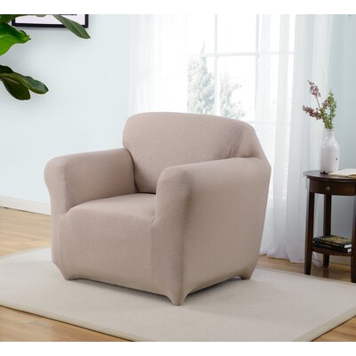 Box Cushion Armchair Slipcover Upholstery: Beige