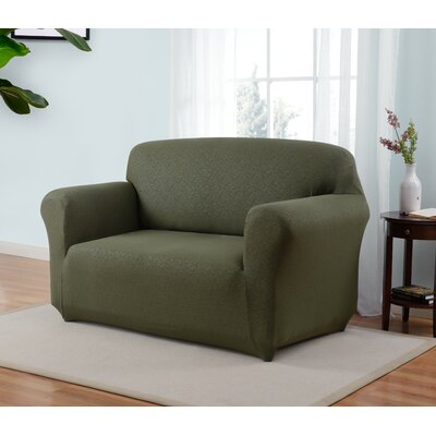 Box Cushion Loveseat Slipcover Upholstery: Forest