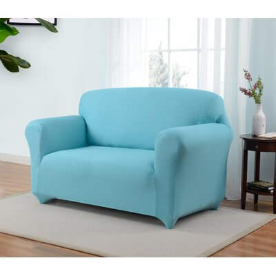 Box Cushion Loveseat Slipcover Upholstery: Aqua