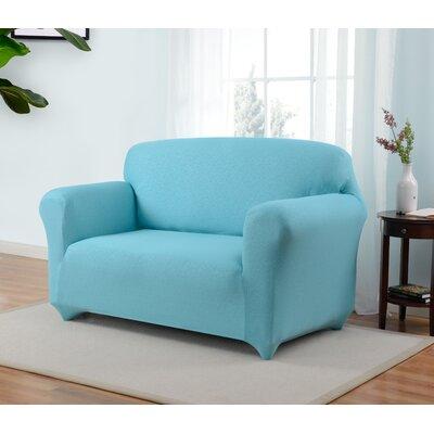 Box Cushion Loveseat Slipcover Upholstery: Aqua