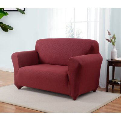 Box Cushion Loveseat Slipcover Upholstery: Ruby