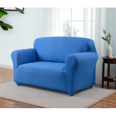 Box Cushion Loveseat Slipcover Upholstery: Cobalt