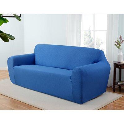 Box Cushion Sofa Slipcover Upholstery: Cobalt