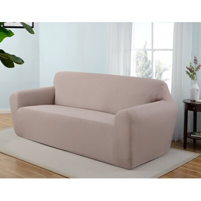 Box Cushion Sofa Slipcover Upholstery: Beige