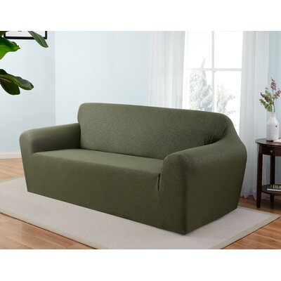 Box Cushion Sofa Slipcover Upholstery: Forest
