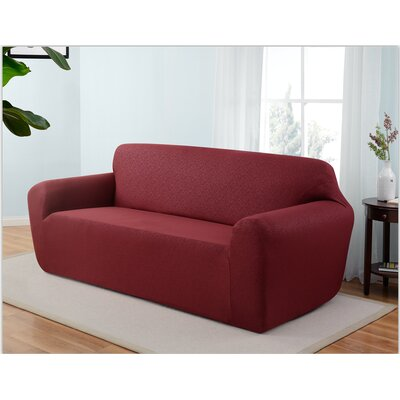 Box Cushion Sofa Slipcover Upholstery: Ruby