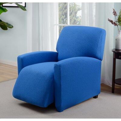 Box Cushion Recliner Slipcover Upholstery: Cobalt