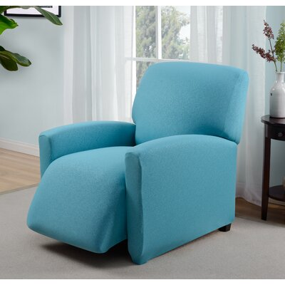 Box Cushion Recliner Slipcover Upholstery: Aqua