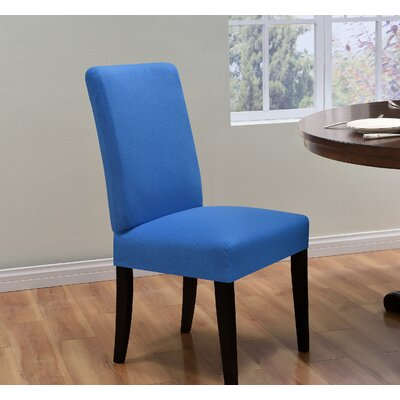 Box Cushion Dining Chair Slipcover Upholstery: Cobalt