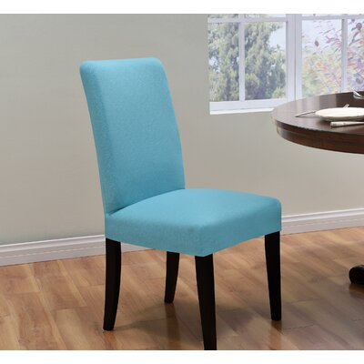 Box Cushion Dining Chair Slipcover Upholstery: Aqua