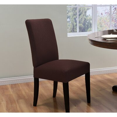 Box Cushion Dining Chair Slipcover Upholstery: Brown