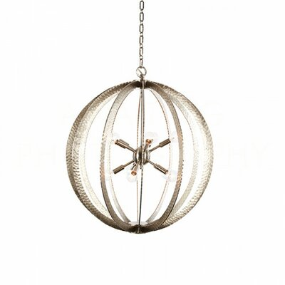 Geo Large Hammered Circle Globe Pendant Finish: Nickel